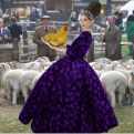 Tyne O'Connell in purple ballgown with Sheep on Savile Row Mayfair