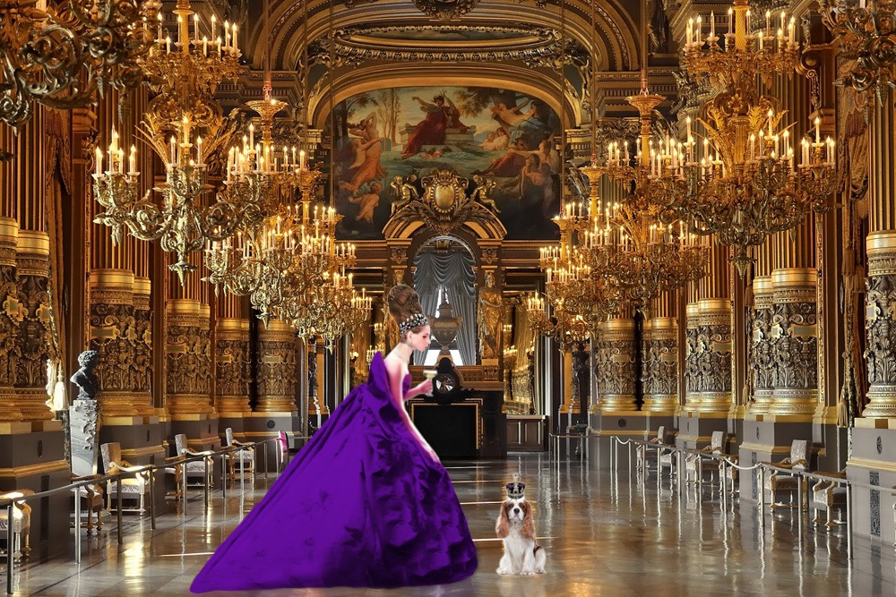 Tyne O'Connell Buckingham Palace Ballroom purple