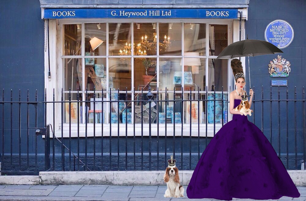 Tyne O'Connell the famous Heywood Hill Bookshop Mayfair in Purple Ballgown