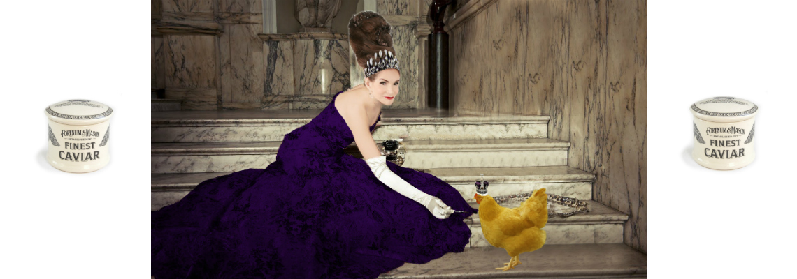 Tyne O'Connell feeding hen caviar in purple ballgown