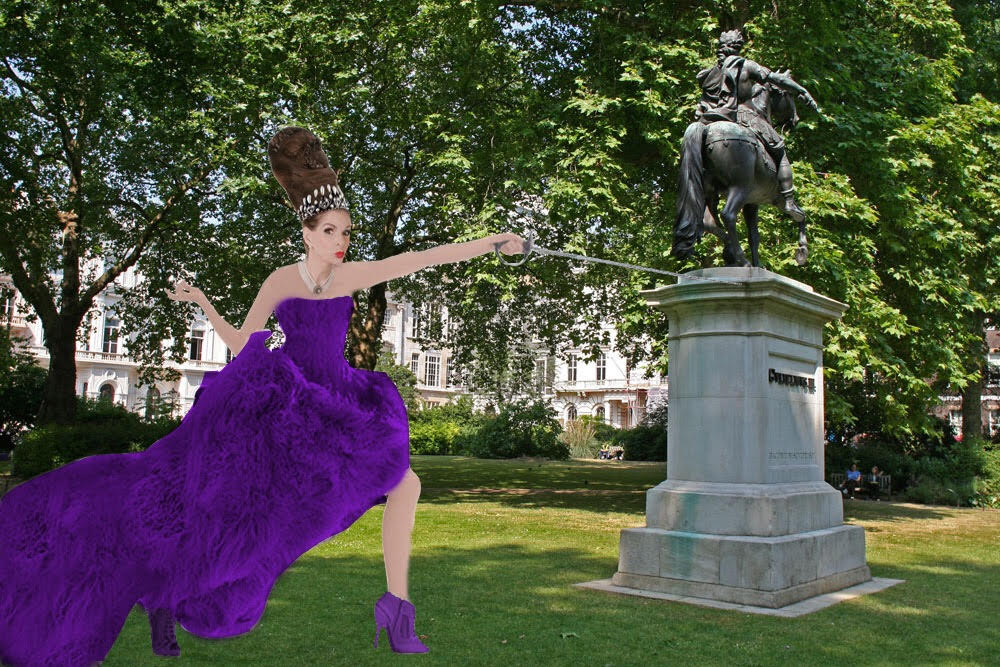 Tyne O'Connell fencing in St James's Square London in purple ballgown