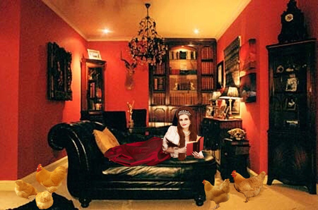 Tyne O'Connell in her boudoir Mount St Mayfair flat with hens