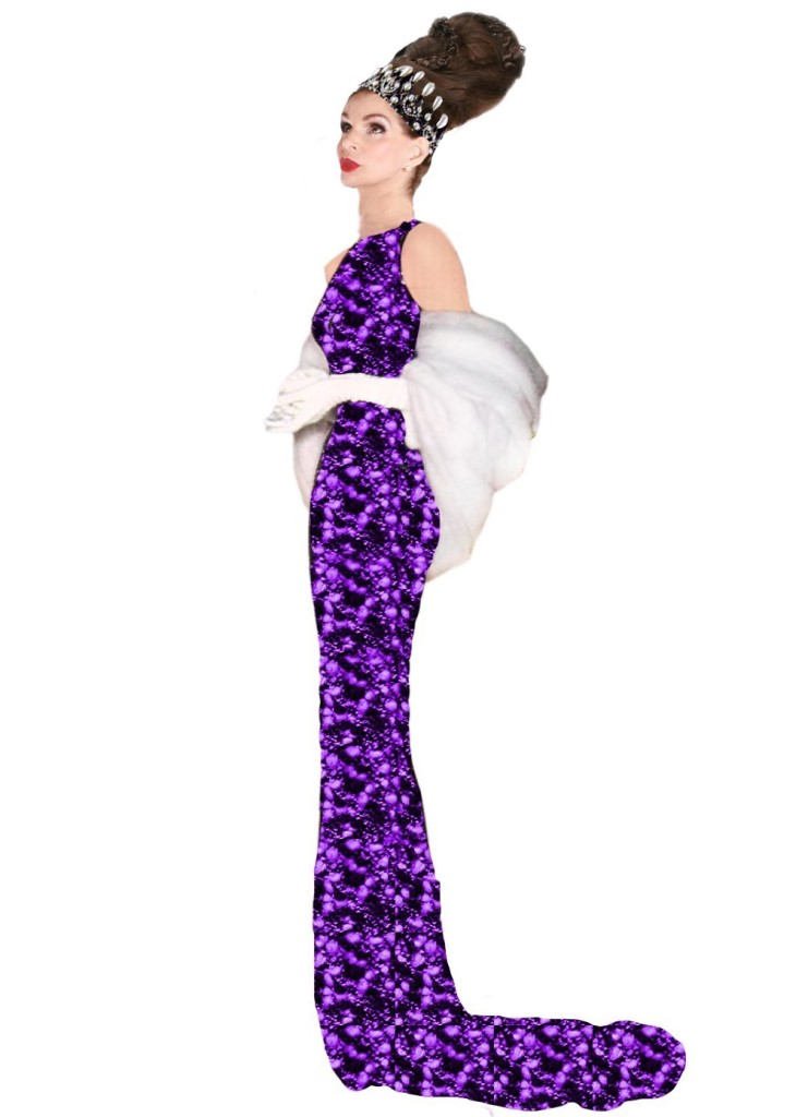 Tyne O'Connell in purple ballgown and fur Mayfair