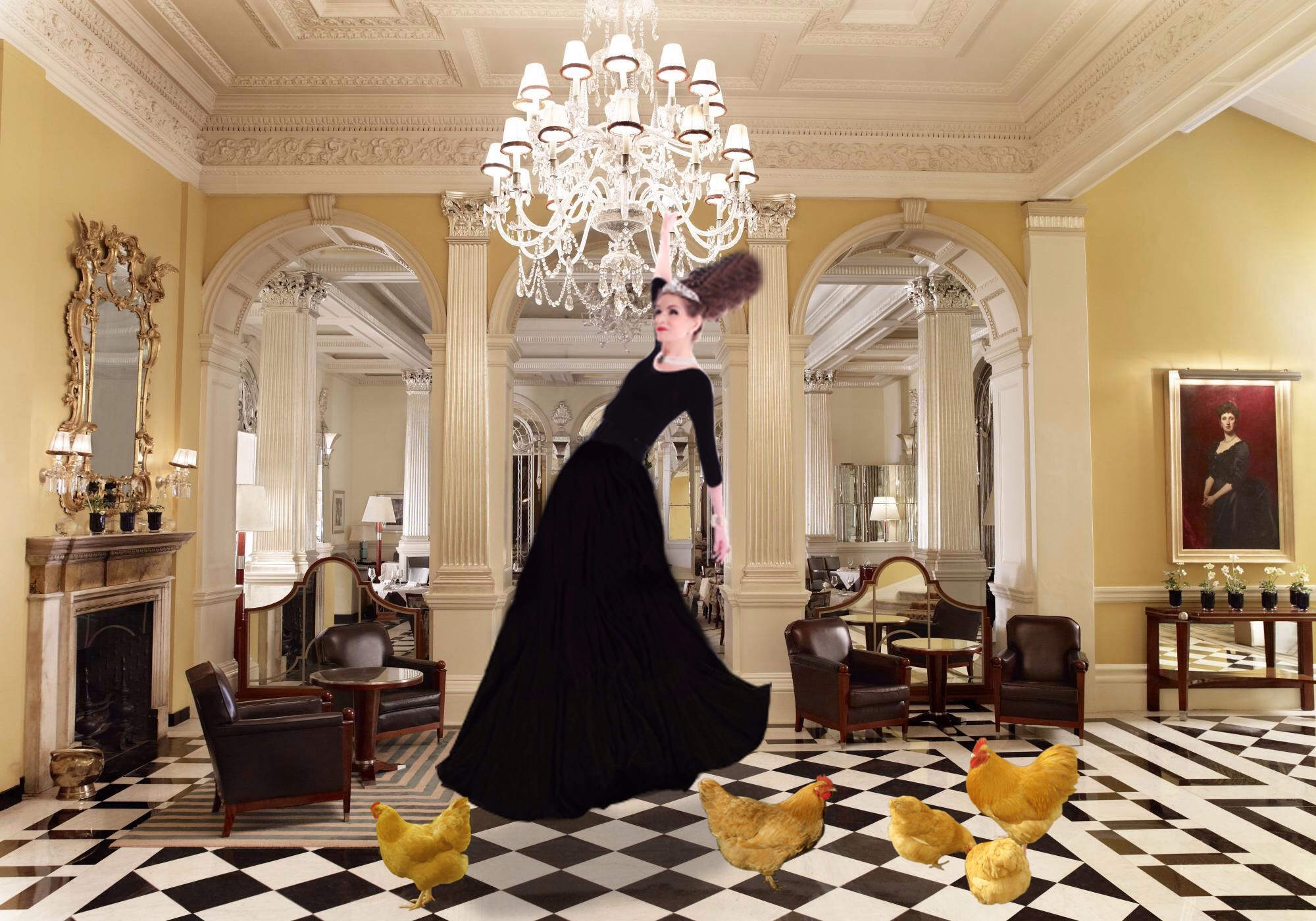 Tyne O'Connell swings from chandelier in Claridges Hotel, Mayfair
