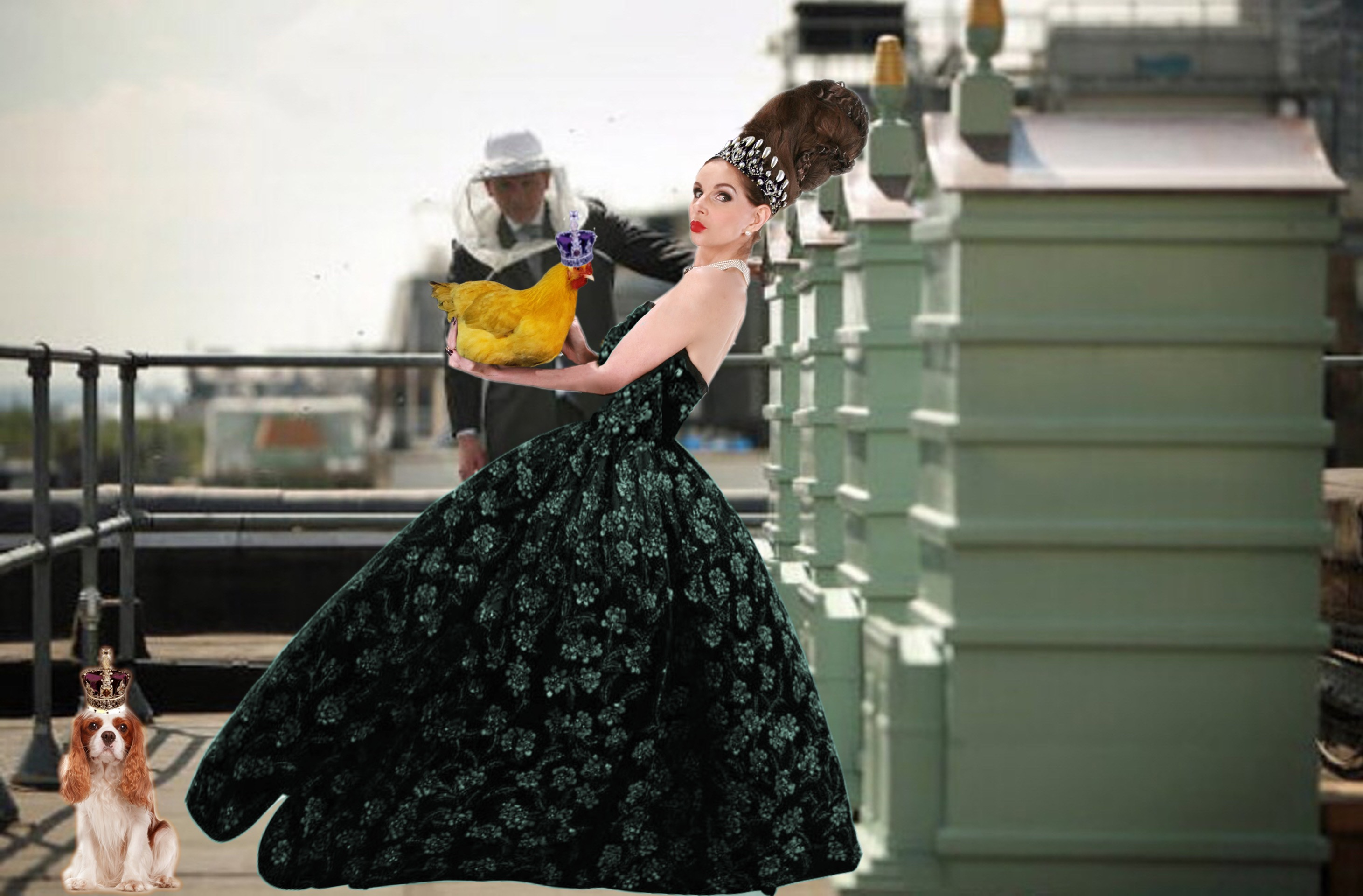 Tyne O'Connell with Bees blue ballgown on F&M