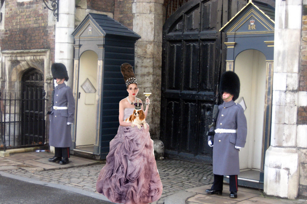Tyne O'Connell with guards in mauve dress with spaniel