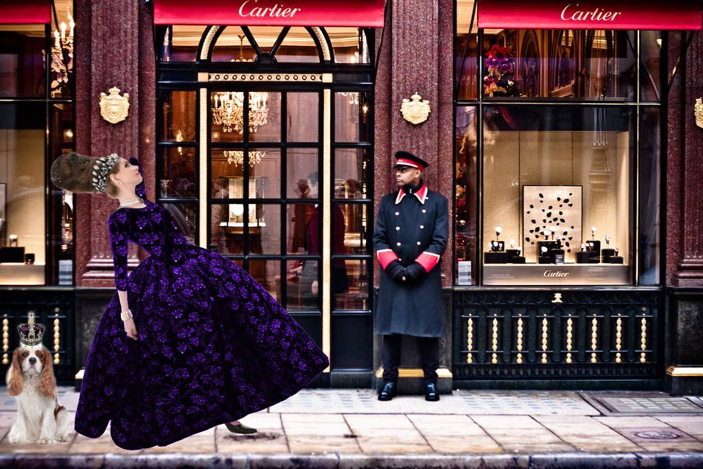 Tyne O'Connell Bond St Cartier Mayfair puffy purple ballgown