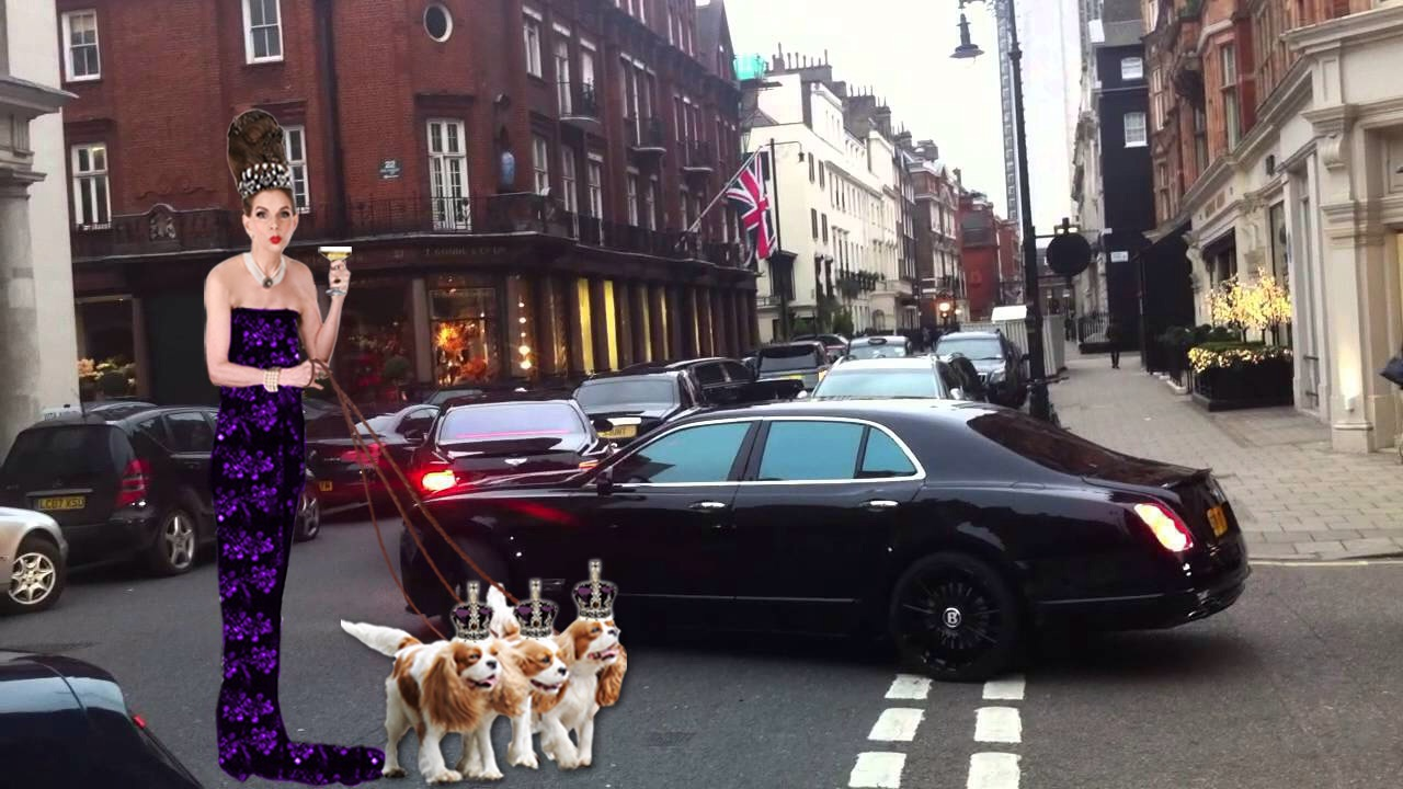 tyne oconnell on south audley street with spaniels and rolls royce purple ballgown